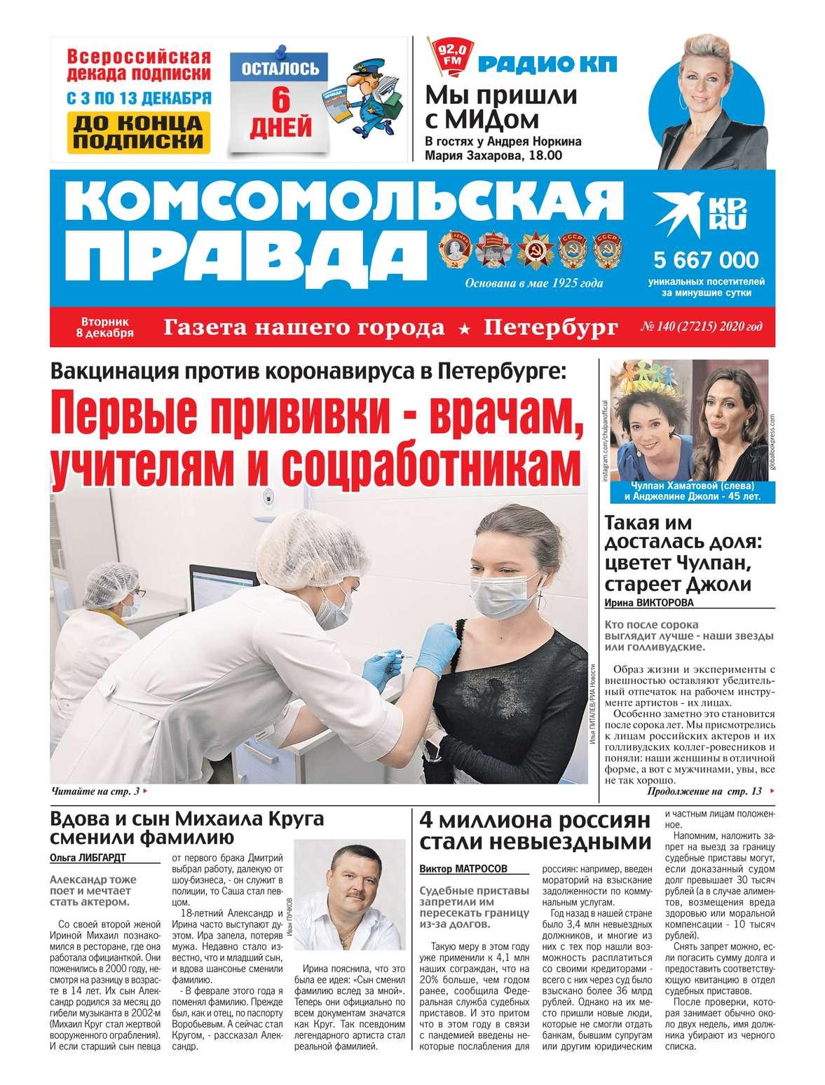Купить книгу Комсомольская Правда. Санкт-Петербург 140-2020, автора