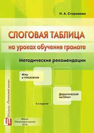 Слоговая таблица на уроках обучения грамоте. Методические рекомендации. Игры и упражнения. Дидактический материал